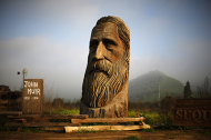 A giant chainsaw carved bust of naturalist John Muir