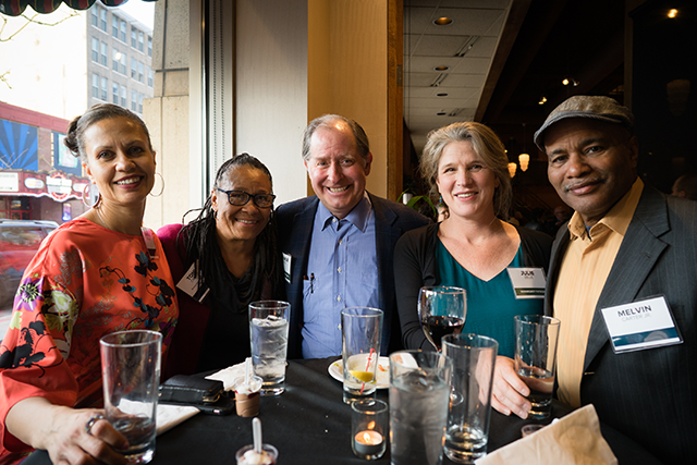 Shaval Crooms, Ramsey County Commissioner Toni Carter, Met Council Chair Charlie Zelle, Julie Zelle, and Melvin Carter Jr., MinnRoast 2019.