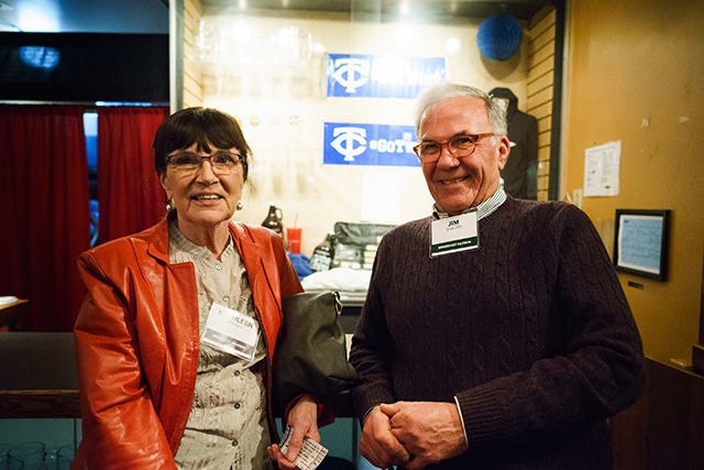 MinnPost Member Kathleen Graham and MinnRoast Patron Jim Shaver