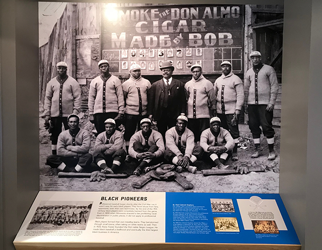 Display honoring Minnesota Colored Gophers and early black baseball teams.