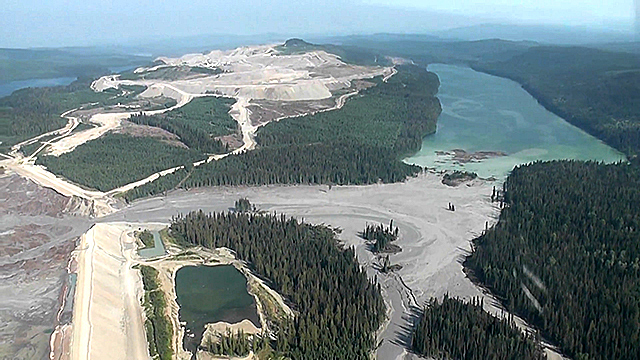 The tailings dam at the Mount Polley copper and gold mine