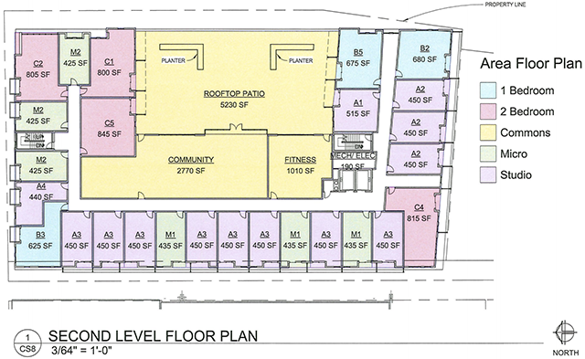 The second story floor plan for The Pitch, a proposed apartment on Snelling Avenue in St. Paul near Allianz Field.
