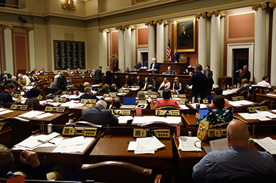 photo of minnesota house chambers taken from the back looking toward the rostrum