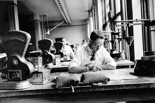 photo of man inspecting grain