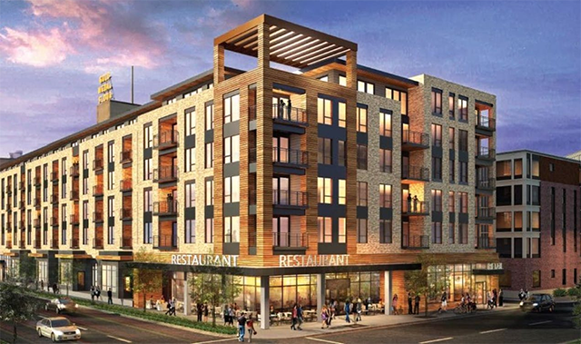Rendering of a proposed redevelopment of 205 Park Ave. in downtown Minneapolis.