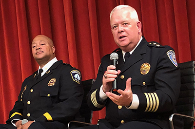 Minneapolis police inspector Eddie Frizell and Metro Transit's interim chief, A.J. Olson