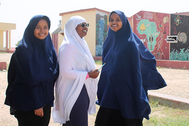 From left to right: Najad Good, 9th grade; Mubsuud Mustafe, 8th grade; and Najah Ibrahim, 9th grade.