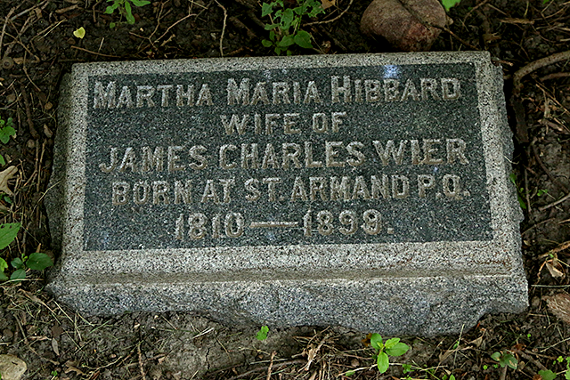 The grave marker for Martha Maria Hibbard in the old St. Anthony Township Cemetery.