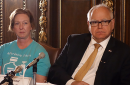 Nicole Smith-Holt, mother of Alec Smith, and Gov. Tim Walz