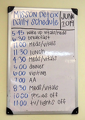Mission Detox's posted daily schedule
