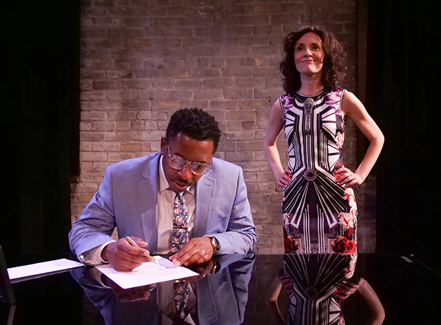 "Darrick Mosley as Jeff and Sara Marsh as Jenny in ""Dry Powder."""