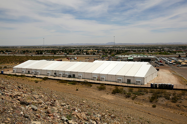 A temporary facility for processing migrants requesting asylum