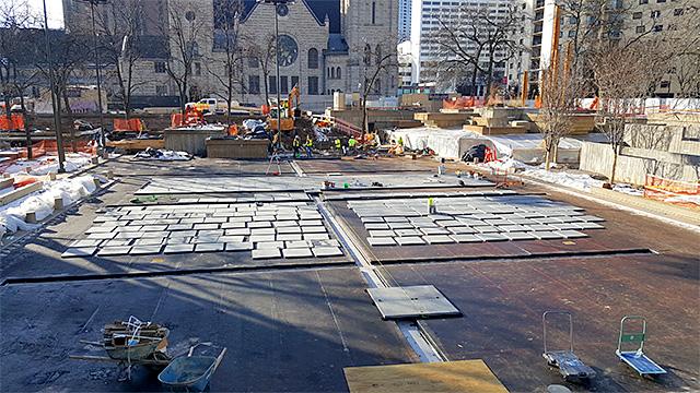 Peavey Plaza under reconstruction.