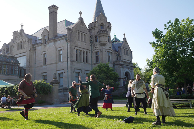 Viking games on the American Swedish Institute's lawn.