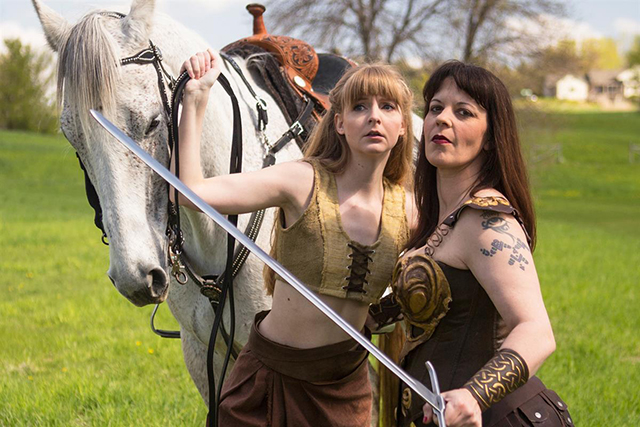 promotional photo for xena and gabrielle smash the patriarchy
