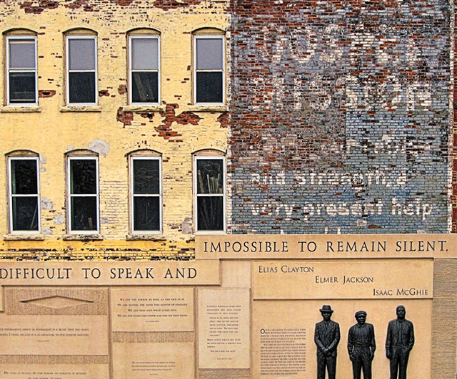 photo of memorial in duluth to three men who were lynched