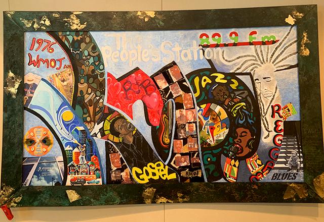 Wall artwork at the studios of KMOJ in Minneapolis.