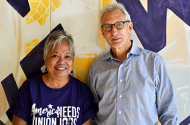 Luisa Blue, executive vice president of the national SEIU and Jon Barton, a deputy director at SEIU