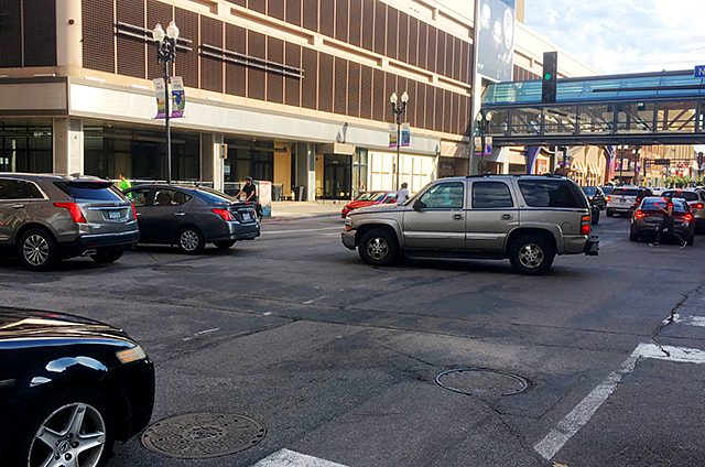 "An SUV ""blocking the box"" recently in downtown Minneapolis."