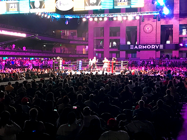 The Armory in full Art Deco splendor, before a packed house on a fight night in July.