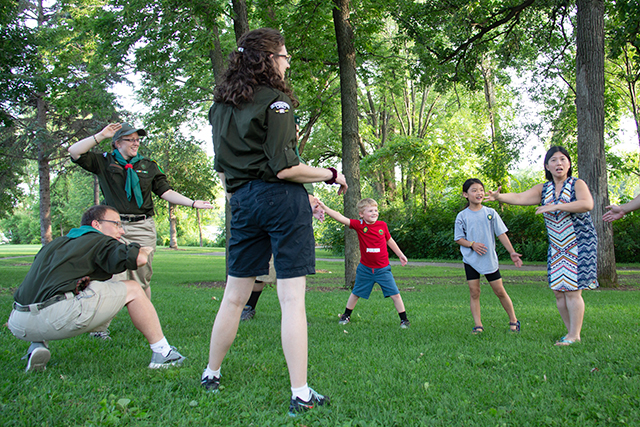 "The 6th Woodrunners scouts play ""Ninja"" at Peninsula Point Park in Anoka."