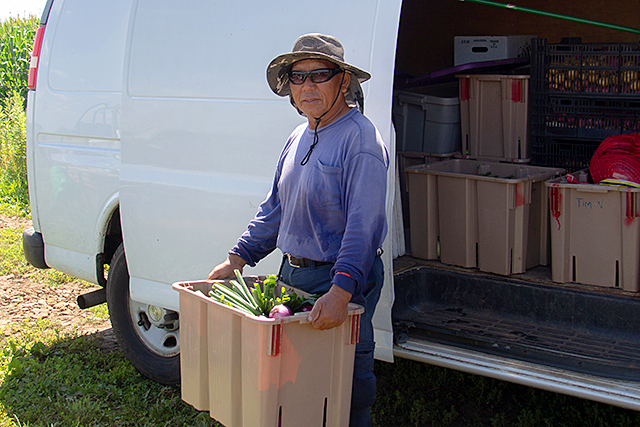 Timothy Vang loads his van with produce for the farmer's market.