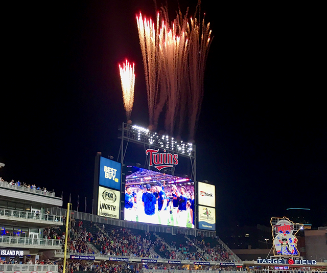 Fireworks capped off the celebration at Target Field on August 5 when Miguel Sano slammed a pinch-hit home run.