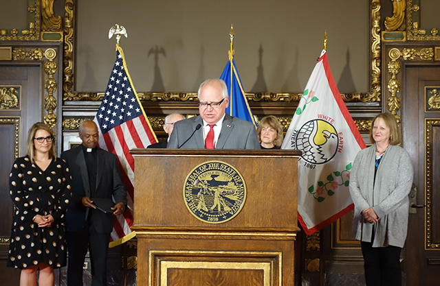 Gov. Tim Walz introducing Jodi Harpstead as the new commissioner of the Minnesota Department of Human Services