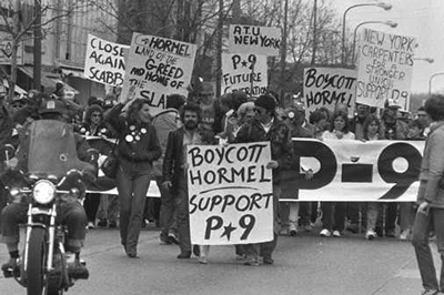 photo of strikers picketing hormel