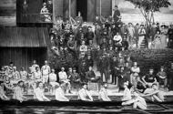 historical photo of minnesota boat club members near their boathouse