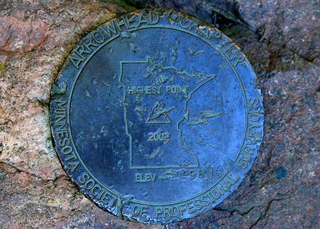 A marker at the top of Eagle Mountain says it's Minnesota's highest point.