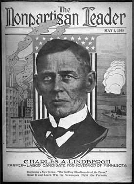 Charles A. Lindbergh, 1918 candidate for governor