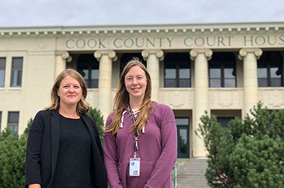 Alison McIntyre, director of Public Health and Human Services in Cook County, left, and Heidi Akins, the county's Intake Social Worker