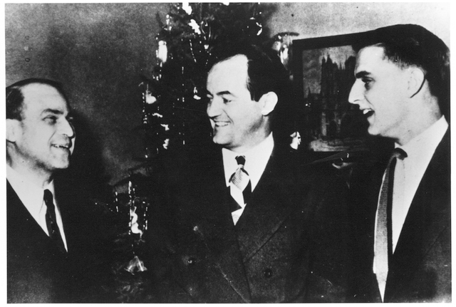 Macalester College President Charles D. Turck, Hubert Humphrey and Walter Mondale in 1948.