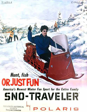 image of historic pamphlet advertising sno traveler snow mobile