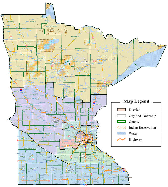 The proposed Hippert Congressional District Plan (GOP) from 2011. A state court panel crafted the final congressional district map.