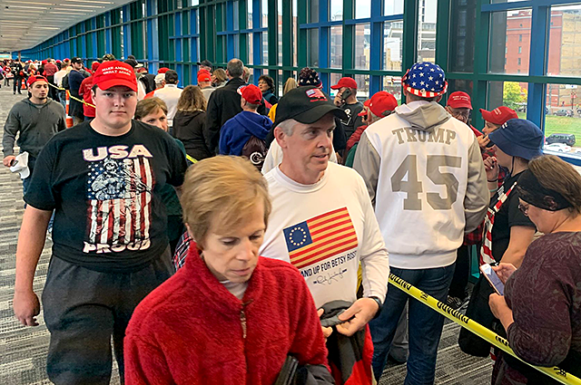 Trump supporters were funneled through the skyway to get to and from Target Center.