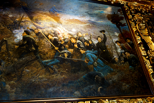 "The painting, ""The Second Minnesota at Mission Ridge,"" depicts Lt. Col. Judson Bishop leading the charge."