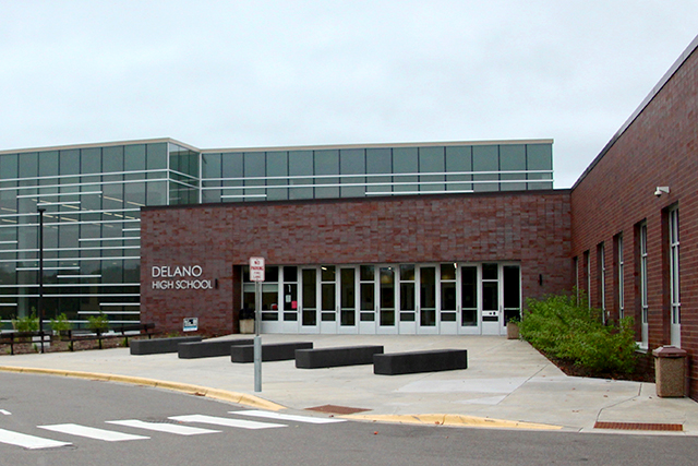 Delano High School installed barricades outside of the building's front entrance, as an added safety precaution.