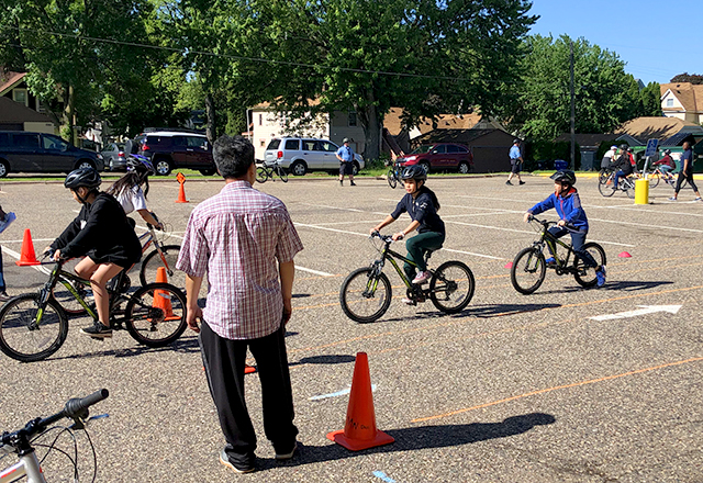 "A ""bike rodeo"" at Phalen Lake Elementary in St. Paul last May."