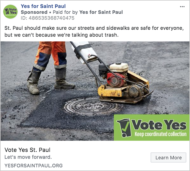 Yes for St. Paul has spent $1,000 on ads.
