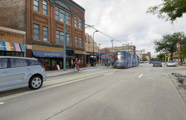A rendering shows how a streetcar might look in northeast Minneapolis.