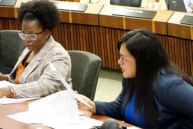 Commissioner Angela Conley, left, voted against the amendment. Commissioner Irene Fernando, right, voted for it.