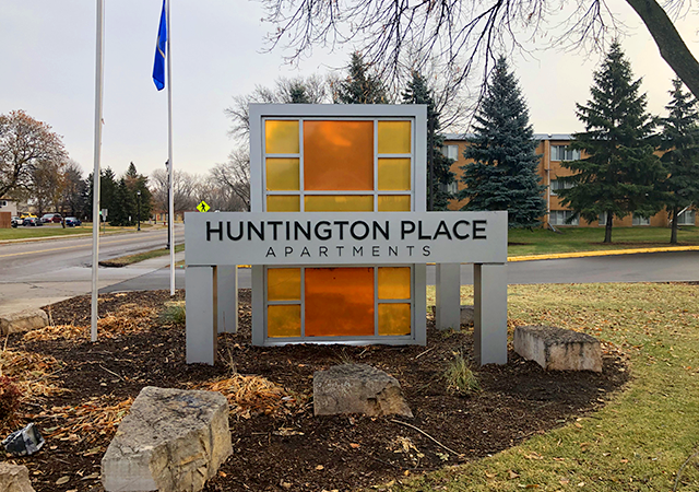 Built in 1969, Huntington Place is located on 73rd Avenue North, just north of Interstate 94.