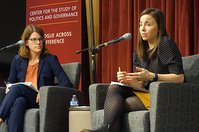 Professor Kathryn Pearson, left, interviewing Professor Kelly Dittmar at the Humphrey School of Public Affairs on Thursday.