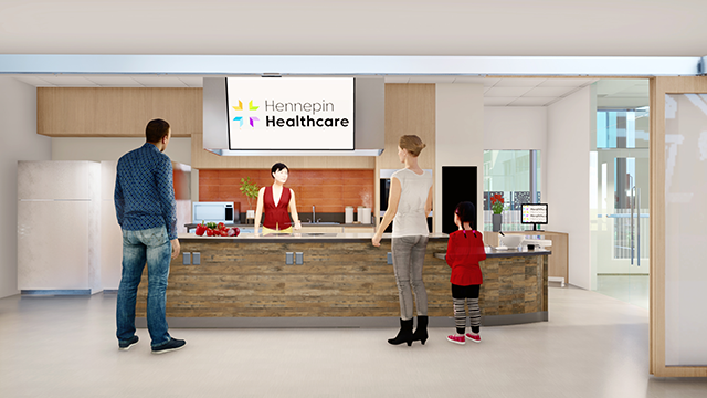 A rendering of the Redleaf Center for Family Healing teaching kitchen.