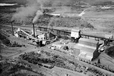 historical aerial photo of taconite plant