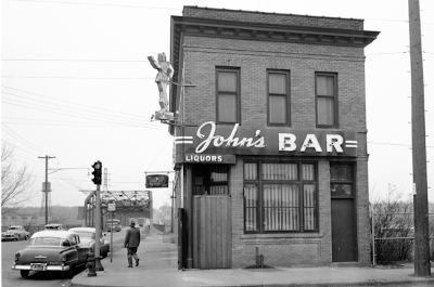 historical photo of john's bar