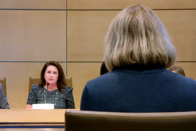Committee chair Sen. Michelle Benson questioning Department of Human Services Commissioner Jodi Harpstead on Tuesday.