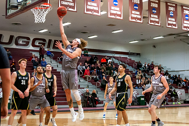 Booker Coplin shown playing in Augsburg's victory over St. Olaf on Dec. 4 at Si Melby Hall in Minneapolis.